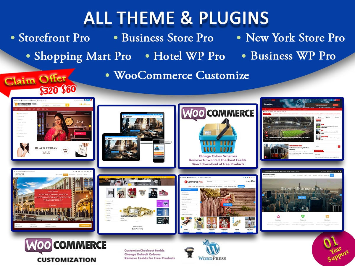 wordpress themes and plugins pack